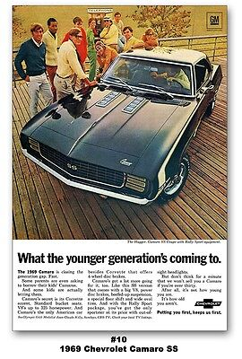 24x36 1969 Chevrolet Camaro SS 396 RS Rally Sport Ad Poster Chevy The Hugger 350