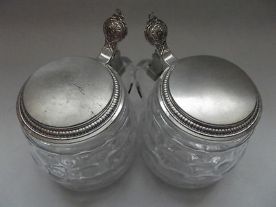 Pair of West German Glass Beer stein Mugs with Plated Mounts.