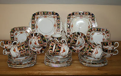 Deco Burgess Bros 'Carlisle Ware' Imari Style Tea Set for 12