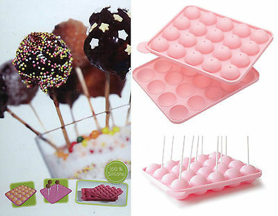 Reusable Silicone Cake Pop Mould Dishwasher Safe Heat Resistant With 20 Sticks