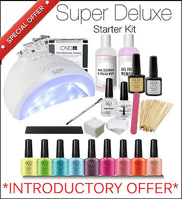 Super Deluxe CCO Starter Kit UV Led Gel Nail Polish Set Lamp CND Shellac wraps