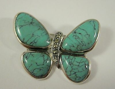 Vintage Style Solid 925 Sterling Silver Marcasite Turquoise Butterfly Brooch
