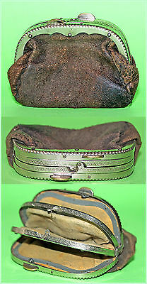 Antique Small Genuine Leather Coin Purse three pockets, Europe 1920's
