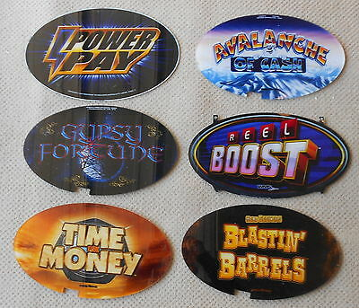 "CASINO SLOT MACHINE TOPPER PLAQUES / INSERTS ""LOT of 6"" Excellent Used Condition"
