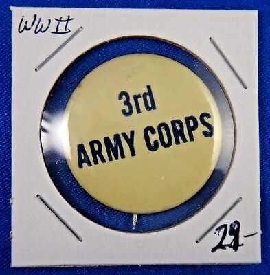 Original Vintage WWII WW2 US Military 3rd Army Corps Pin Pinback Button