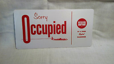 Capital Airlines OCCUPIED seat place card. Plastic version.