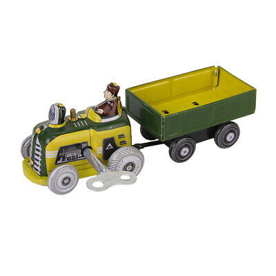 Vintage Wind Up Tractor ,Traile, Driver Tin Toy CLOCKWORK Kids Adult Collectible
