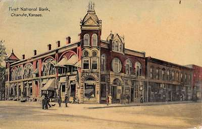 Chanute Kansas First National Bank Street View Antique Postcard K47140