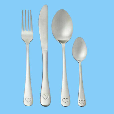 16 Piece Copper or Stainless Steel Cutlery Set Heart or plain Detail Forks Spoon