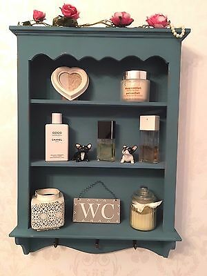 Shabby Chic Wooden Wall Unit Vintage Display Cabinet Bathroom Shelves Storage