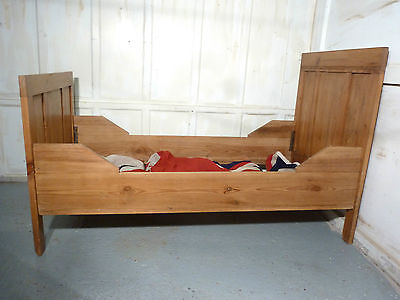 A 19th Century French Rustic Pine Single Sleigh Bed