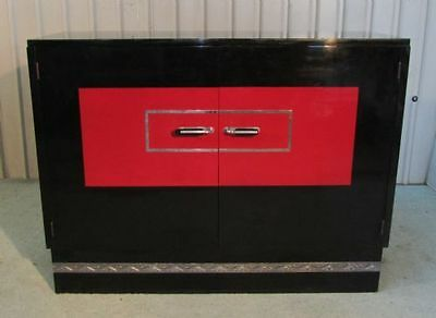Black Lacquered 1950s Retro Sideboard Cabinet