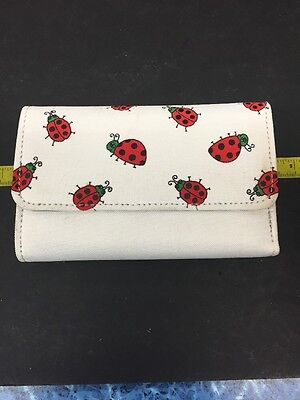 Trifold White wallet with ladybugs