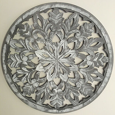 Carved Round Wall Panel/Large 60cm/Sculpture/Decorative Wood Mandala Art
