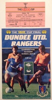 The Skol Cup Final Programme & Ticket Dundee United v Rangers 28.10.1984