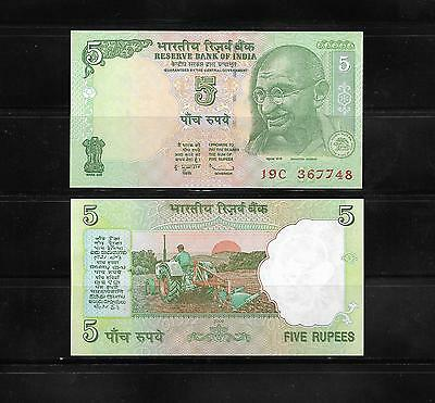 Banknote From India 5 Rupees Crisp Unc.