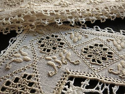 Antique Bobbin LACE & EMBROIDERY c1930 Set 10 PLACEMATS & RUNNER Italian LEFKARA
