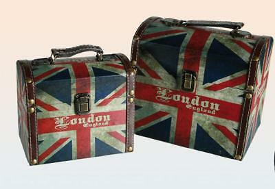 London England Wood Suitcase Storage Box, 2 Set, Vintage Look, NEW