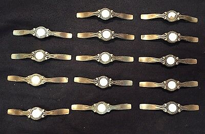 "#4 Antique Ornate 14 Victorian Solid Brass w/ Porcelain Drawer Pulls 5"" Lot Set"