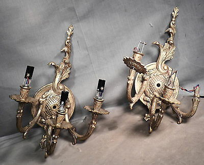 Pair Vintage European Brass Triple Wall Sconce FRENCH Louis XVI AS IS Shabby