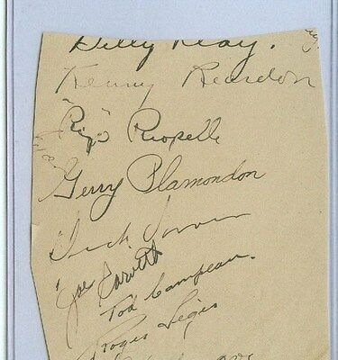 1948-49 MONTREAL CANADIENS MULTI SIGNED AUTOGRAPH PAGE w/ DICK IRVIN (DIED 1957)