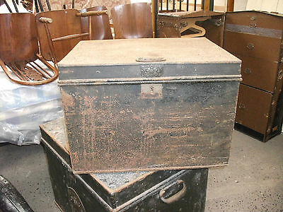 2' Antique Milner & Son Safe Strong Box Coffee Table Storage Chest Trunk Vintage