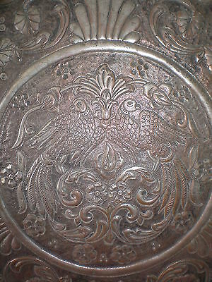 Unique hand made copper tray with Arabic ornaments from the 19th century, RARE!