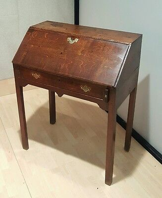 unusual antique georgian oak writing bureau