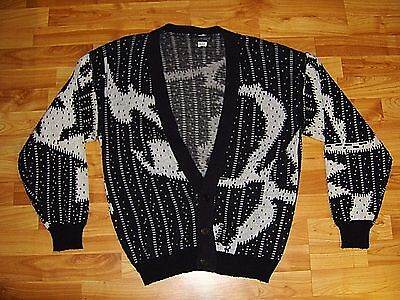 Mens Playboy Cardigan Sweater Hugh Hefner Black & White Vintage Retro Size L