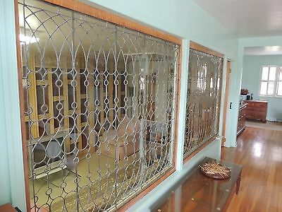 Eloquent Antique Leaded Glass Windows (Pair) In Wood Frames