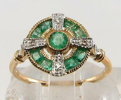 Lovely 9Ct Gold Colombian Emerald Diamond Art Deco Ins Ring Free Resize