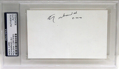 Muhammad Ali Signed Autographed Index Card Boxing Champion Psa/dna Slabbed 34520