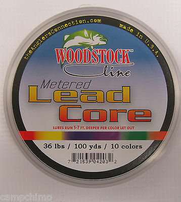 Woodstock Line Metered Lead Core Fishing Line 36# Test 100 Yards 10 Colors