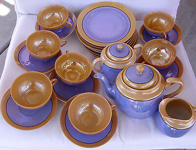 """Antique/vintage,very attractive two-tone iredescent Japanese """"egg shell"""" tea set"""