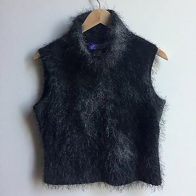 Vintage Faux Mohair Turtleneck Sleeveless Jumper Sweater Black Ombre Rave 2000s