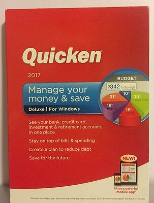Quicken 2017 Manage Your Money & Save Deluxe Windows NEW FACTORY SEAL FREE SHIP!