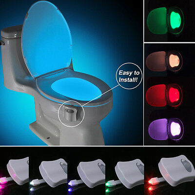 8 Color LED Toilet Seat Bathroom Night Light Human Body Motion Activated Sensor