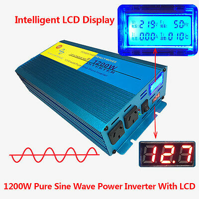 1200w pure sine wave inverter 12v to 240v with LCD car caravan boat camping gift