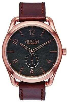 46b2c67dc39 NIXON C45 MEN S A4651890 Leather Analog Display Swiss Quartz Brown ...