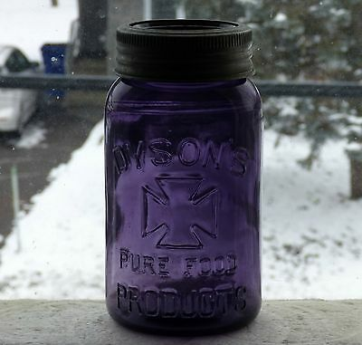 Rare quart size DYSON'S Pure Food Products deep purple fruit jar FREE SHIPPING!