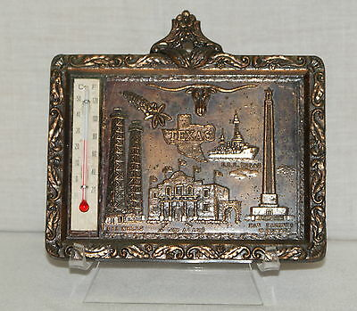 Copper Tone Hanging Plaque Texas Thermometer Longhorn Oil Alamo Vintage Japan