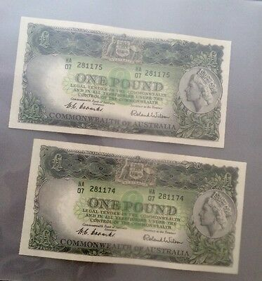 Australian Consecutive notes, Coombs/Wilson, One Pound £1 Pound Banknotes