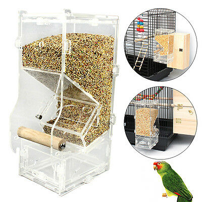 Clear Acrylic Seed No Mess Bird Feeder Parrot Canary Cockatiel Finch Tidy Corral