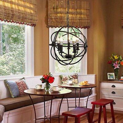 Modern Industrial Chandelier 5 Light Hanging Fixture Orb Vintage Round Ball Cage