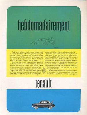 1962 Renault Caravelle Hebdomadairement  PRINT AD