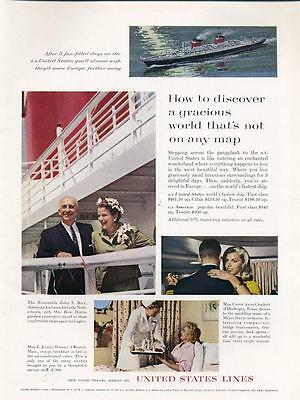 1962 United States Lines Cruise Ship Captain SS United States PRINT AD