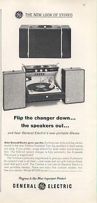 1962 G.E. General Electric Portable Record Player Model RP1570  PRINT AD