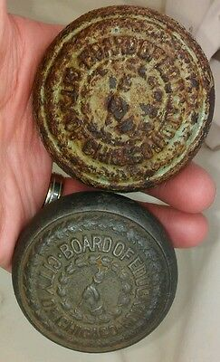 BOARD OF ED CITY OF CHICAGO Antique IRON 2 Embossed Door knobs. 1 Green paint