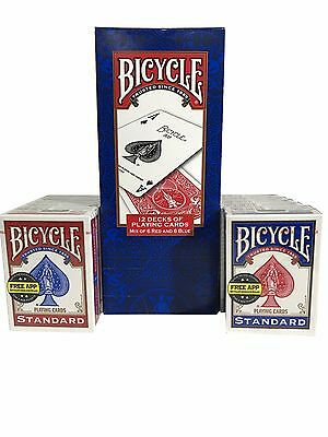 Bicycle Standard Playing Cards Mix of 6 Red & 6 Blue Durable - 12 Decks