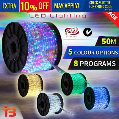 MONTERAY 50M 8 FUNCTION 1800LED ROPE LIGHTS MULTI COLOUR PARTY Xmas Christmas